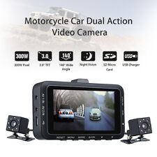 Motorcycle Car Twin Camera Motorbike Dual 0.3MP HD Dash Cam Video DVR Camcorder