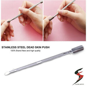 Cuticle Pusher Professional Stainless Steel Tool Dual Manicure Gel Polish Clean