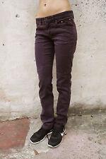 JECKERSON jeans in denim viola scuro donna stretch a gamba dritta W28 UK10 Cool in buonissima condizione