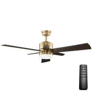 Ceiling Fan with Light Kit Remote Control Hexton Brushed Gold LED Indoor 52 In.