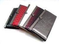 LADIES PATENT CROC EFFECT EVENING CLUTCH PURSE BAG WALLET CREDIT CARD HOLDER