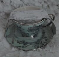 222 FIFTH CUP & SAUCER SET ADELAIDE LIGHT GREEN/SILVER BNWT