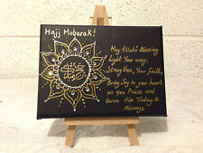 Islamic Canvas Hand Painted Arabic Calligraphy- HAJJ MUBARAK GIFT WITH STAND