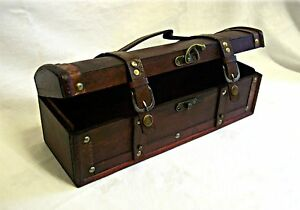 Handmade Wooded Gift Box Treasure Chest Trunk - Brass Clasp Leather Straps