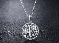 2 Ct Tree Of Life Brilliant Cut Solid 14k White Gold Pendant Necklace