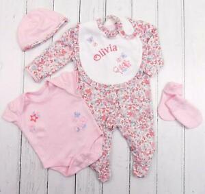 Baby Girls Ditsy Floral Sleepsuit Vest Cradle Cap Mitt Gift Set PERSONALISED BIB