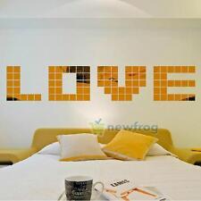 DIY Mirror Tile Wall Sticker Acrylic 3D Decal Mosaic Living Room Decor Art Mural