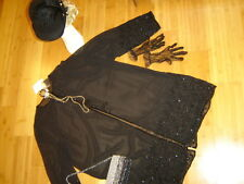 1920s twenties flapper costume black sheer beaded coat hat sz M XL Gatsby unique