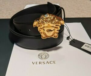 New Versace Black Medusa Head Leather Belt 44 Inches