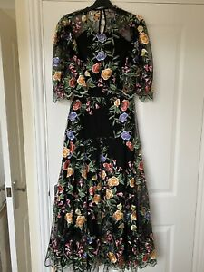 ASOS Limited Edition Black Embroidered Maxi Dress Size 10 Scallop Edge Worn Once