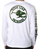 Men/'s Long Sleeve Bass Fishing T shirt,lunker,reel,rod,baitcaster,Dixie land