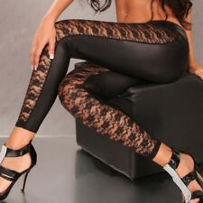 High Quality Punk Black Faux Leather Gothic Lace Legging Women Lace Up Leggings