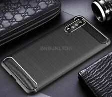 for Huawei P20 Carbon Fibre GEL Case Cover & Glass Screen Protector