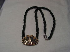 ..MARVELLA...Black Glass Beads Rope Necklace,Gold Tone,Faux Pearls Shell Pendant