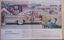 1958 double page magazine ad for Mercury - Park Lane Cruiser at shopping center