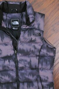 The North Face Nuptse 2 Down Vest Black Mountain Scape Print Purple Women's XS