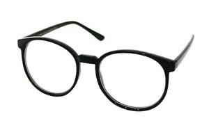 Oval CLEAR LENS Glasses Tall Frames Geek Nerd Preppy Geek Retro Style 1093 BLACK