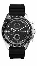 Authentic Fossil CH3024 Sport 54 Black Silicone Chronograph Watch 44mm