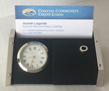 Desk Clock With Business Card Holder and Ball Point Pen, New In Box