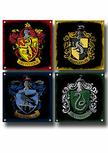 HARRY POTTER HOUSE CRESTS METAL SIGNS,WALL COLLAGE,MAGIC, HOGWARTS, FILM, GIFT