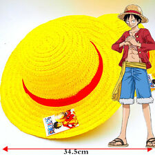 """Anime One Piece Monkey D Luffy Straw Hat Cosplay Hats Handmade Cap with Rope 14"""""""