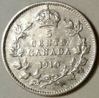 1910 (Pointed Leaves) CANADA SILVER FIVE CENTS Coin