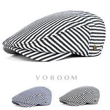 Casquette de à plat à rayures en coton béret pour hommes chapeau de lierre