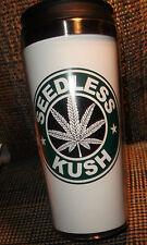 2 KUSH SEEDLESS MARIJUANA TRAVEL MUGs  pot weed Cannabis plus 2-FREE KEYCHAINs