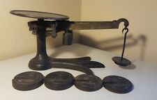 Antique 3 Toed Claw Crow Fairbanks Mercantile Scale with weights