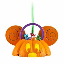 disney halloween mickey pumpkin candy light up ear hat ornament new with tag