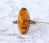 Vintage Soviet cognac Baltic amber and rose gold ring size 9 NEVER WORN
