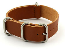 BRACELET MONTRE CUIR VERITABLE 100% 22mm NATO LEATHER STRAP MARRON FOR SEIKO