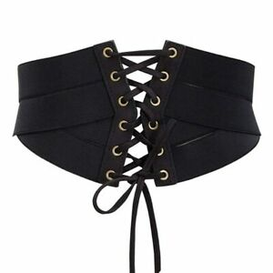 Faux Leather Solid Color Elastic Stretch Wide Band Corset Waist Belt For Women
