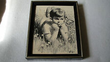 Signed Saron Charcoal Framed Print Boy watching butterfly
