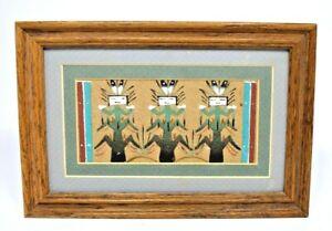 "Navajo Sand Art Painting ""Corn People"" Framed - Signed"