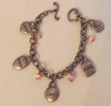 "Silver Tone /Pink Cats Eye /Love Charms Charm 7""S Bracelet / #A"