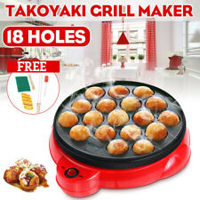 18 Hole Takoyaki Grill Pan Electric Octopus Ball Maker Stove Cooking Plate 650W
