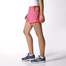Adidas Women's Ultimate 3 Stripe Shorts Run Running Sport Gym Fitness Solar  Pink