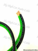 25 ft 4 Gauge AWG 12.5' GREEN / 12.5' BLACK Power Ground Wire Sky High Car Audio