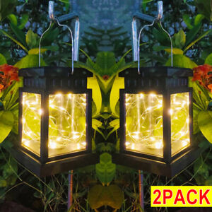 2X Waterproof LED Solar Powered Hanging Lantern Lights Outdoor Garden Table Lamp