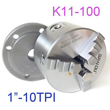 "1 pc Lathe Chuck 4"" 3 Jaw Self Centering w/Back Plate 1""-10TPI  K11-100 sct-888"