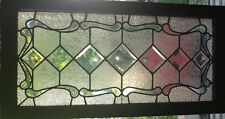 Antique Vintage c1900 Leaded Beveled Transom Window Restored