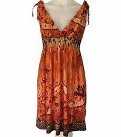 Crossroads Orange Dress Size M Shirred Waist Snakeskin Animal Print Sleeveless