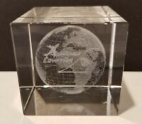 """EGYPTAIR Egypt Air Airline HEAVY 2.5"""" CUBE CLEAR PAPERWEIGHT Globe Image 3D"""
