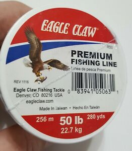 EAGLE CLAW 50lb TEST PREMIUM FISHING LINE MONOFILAMENT CLEAR  280yds