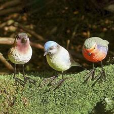 3pc Robin Blue Tit Bird Set Garden Ornaments Decoration Patio Pond sculpture
