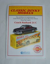 Atlas/dinky toys no 524, coach panhard 24C certificat d'authenticité, mint.