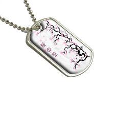 Cherry Blossoms - Blossom Tree Japanese Writing Symbols - Military Dog Tag
