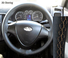 FITS HYUNDAI SANTA FE 01-06 REAL BLACK LEATHER STEERING WHEEL COVER BEIGE STITCH