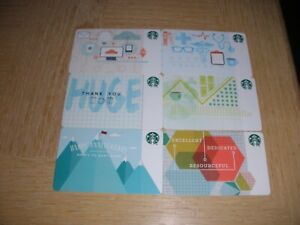 """Starbucks U. S. A.  """"Corporate""""  2014   6 different used collectible gift cards"""